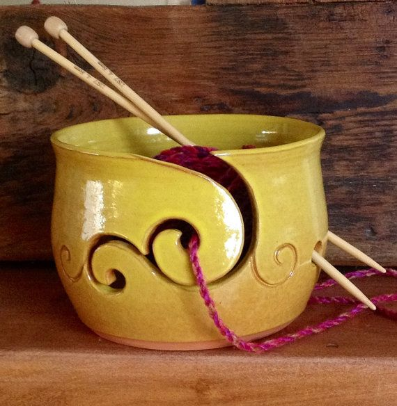 Yellow Yarn Bowl on Etsy, $58.70/I so want a yarn bowl in pretty purples but my colander works just fine. sec