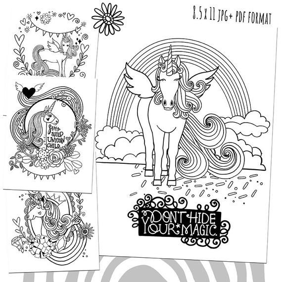 Unicorn Kids Coloring Printable Pdf Unicorn Coloring Pages Etsy Unicorn Coloring Pages Coloring Pages Coloring Books