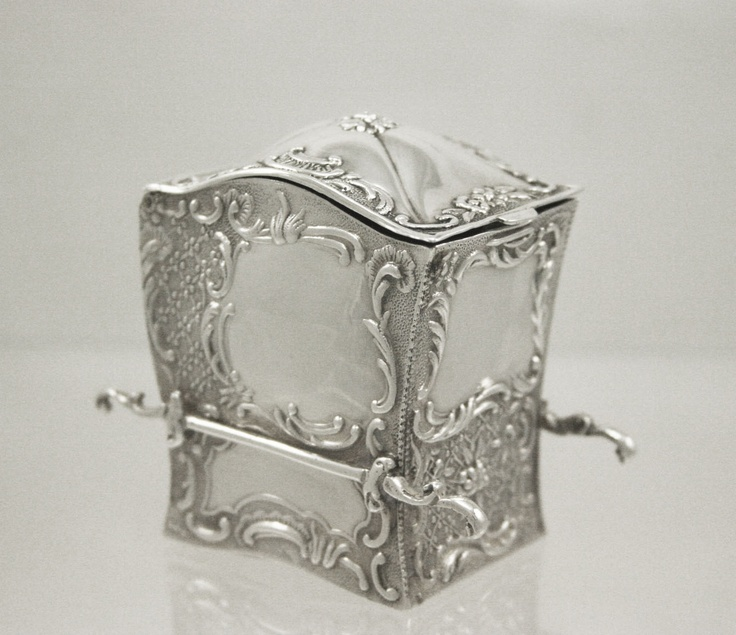 1899 Victorian Solid Silver Two Pack Playing Card Holder in the form of a Sedan Chair.