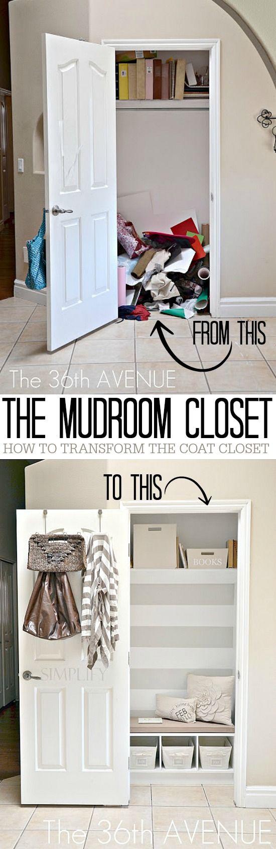 DIY Home Project - Transform an ordinary closet into an extraordinary mini mudroom !