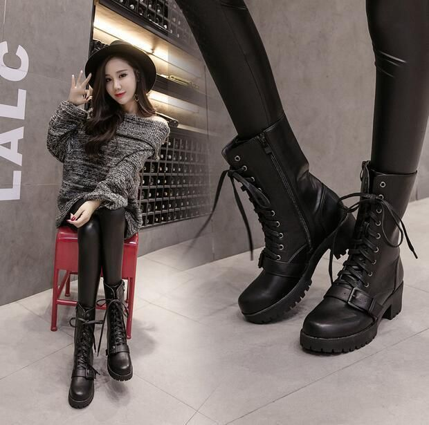 Womens Lace Up Cuban Heel Mid-Calf Boots Tound Toe Combat Motorcycle Shoes