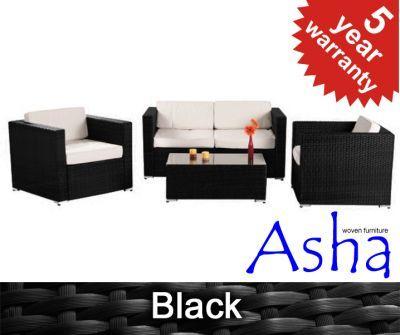 "4 Seater Rattan Weave Garden Sofa Set - Asha™ ""Chartwell"" (Black)"