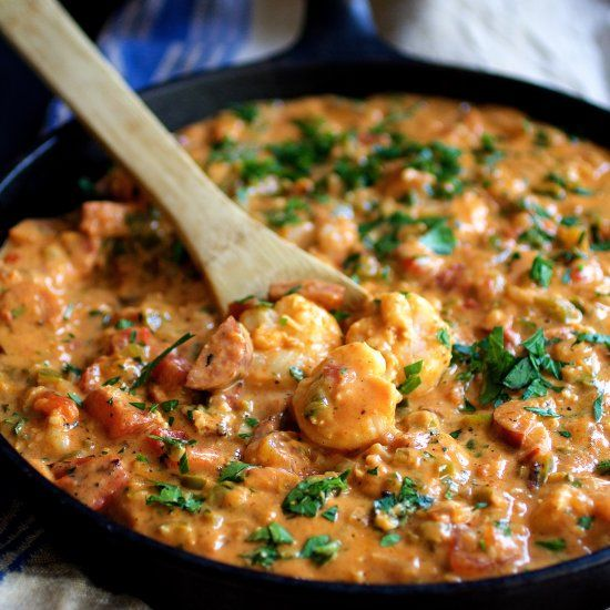 Smothered Shrimp, Andouille Sausage, And Grits Recipe ...