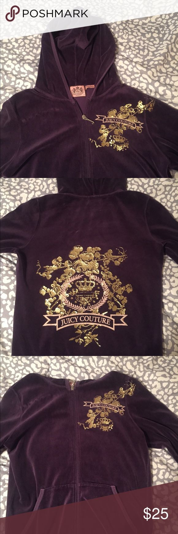 Juicy Couture purple zip up Classic purple zip up hoodie from Juicy Couture. Size M but fits like a small. Very gently worn.  Price is not firm, I am accepting different offers! Juicy Couture Tops Sweatshirts & Hoodies