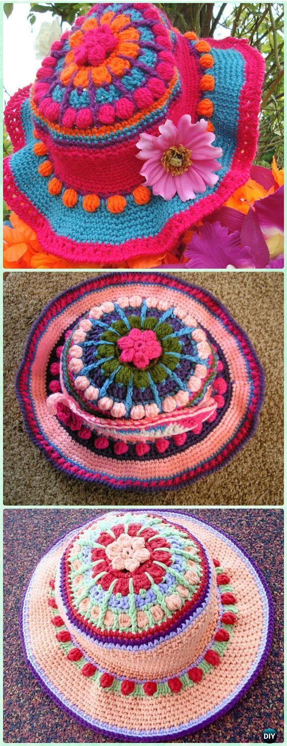 Crochet Colorful Party Hat Brim Sun Hat Free Pattern - Crochet Adult Sun Hat Free Patterns