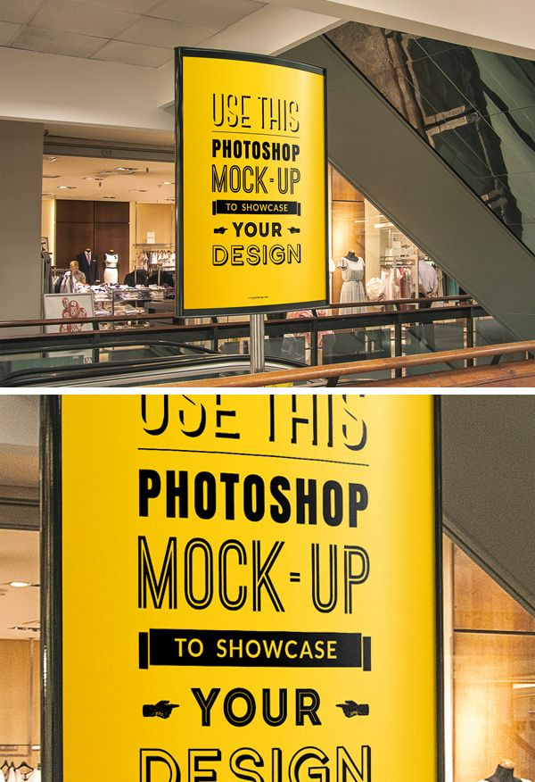 This eye-catching Indoor Advertising Poster PSD MockUp will help you showcase your design in a realistic manner. Feel FREE to download and use it in your next design project.