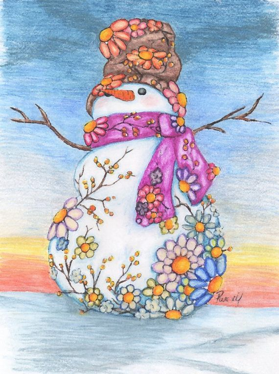 Art Print Daisy Snowman Print Customize with by UnderTheNumNumTree