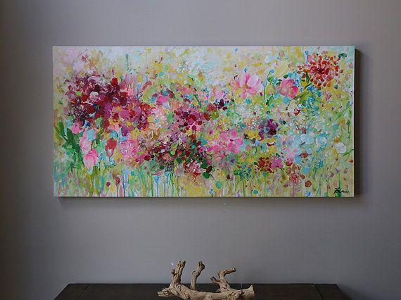 abstract bloem schilderen schilderen op doek van artbyoak1 op Etsy