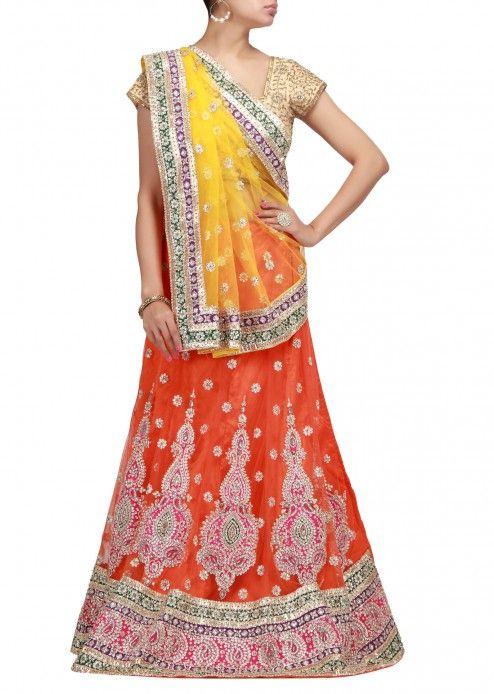 Unstitched lehenga in orange with kundan and zardozi work-Handmade