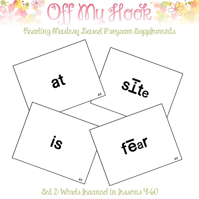 "Sight Word Flash Cards for Reading Mastery Set 2 - Word Flashcards to supplement the Reading Mastery Program by McGraw/Hill  LESSONS 41-60   Included: 44 individual word cards, each measuring 5.45x4.2"" 11 sheets, measuring 8.5x11"" with all of the word cards"