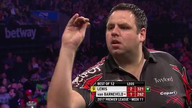 Meanwhile, away from the football, Adrian Lewis has just hit a 9 darter!