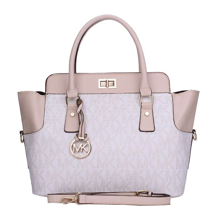 Charming Michael Kors Selma Turnlock Signature Medium White Totes Make You  To BeCrazy