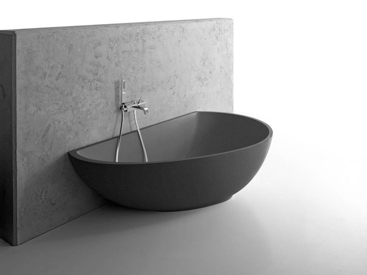MASTELLA Vanity Wall-Mounted Bath in Bi_Colour.  A very good design for a part free standing/wall bath. #baths