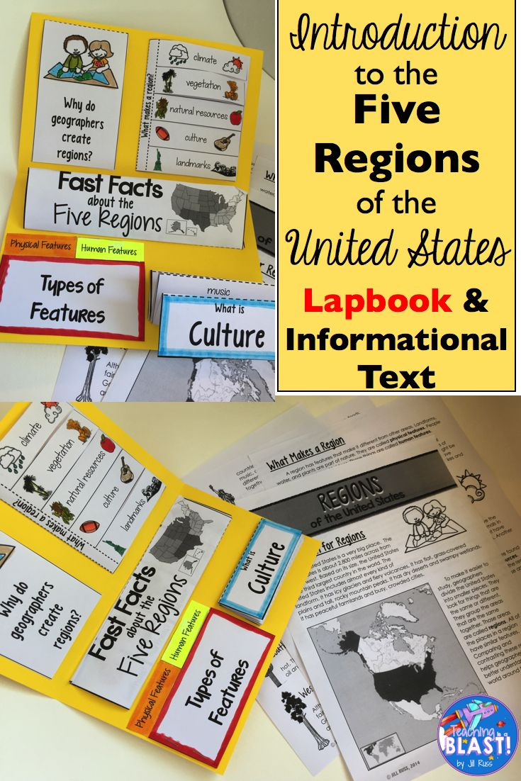 Five Regions Of The United States Introduction Unit With Lapbook Informational Text And Test