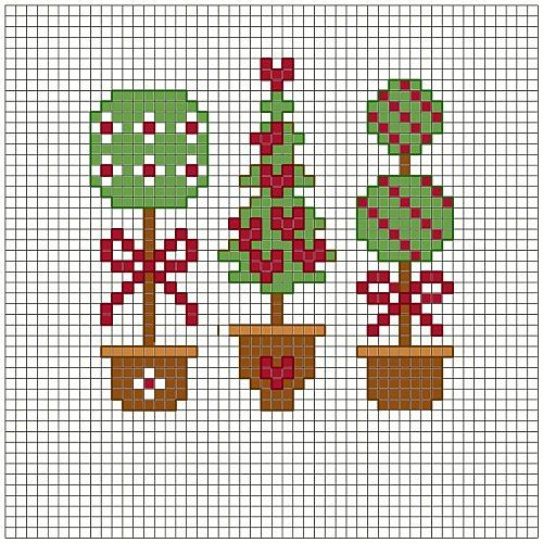 Christmas cross stitch borders | Three Christmas Trees · Cross-Stitch | CraftGossip.com