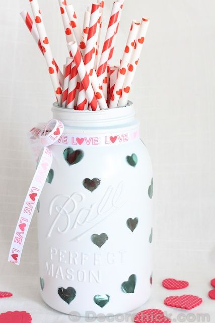 Mason Jar painted green polka dots place star stickers on the polka dots paint everything white and take off the star stickers. Sunshine