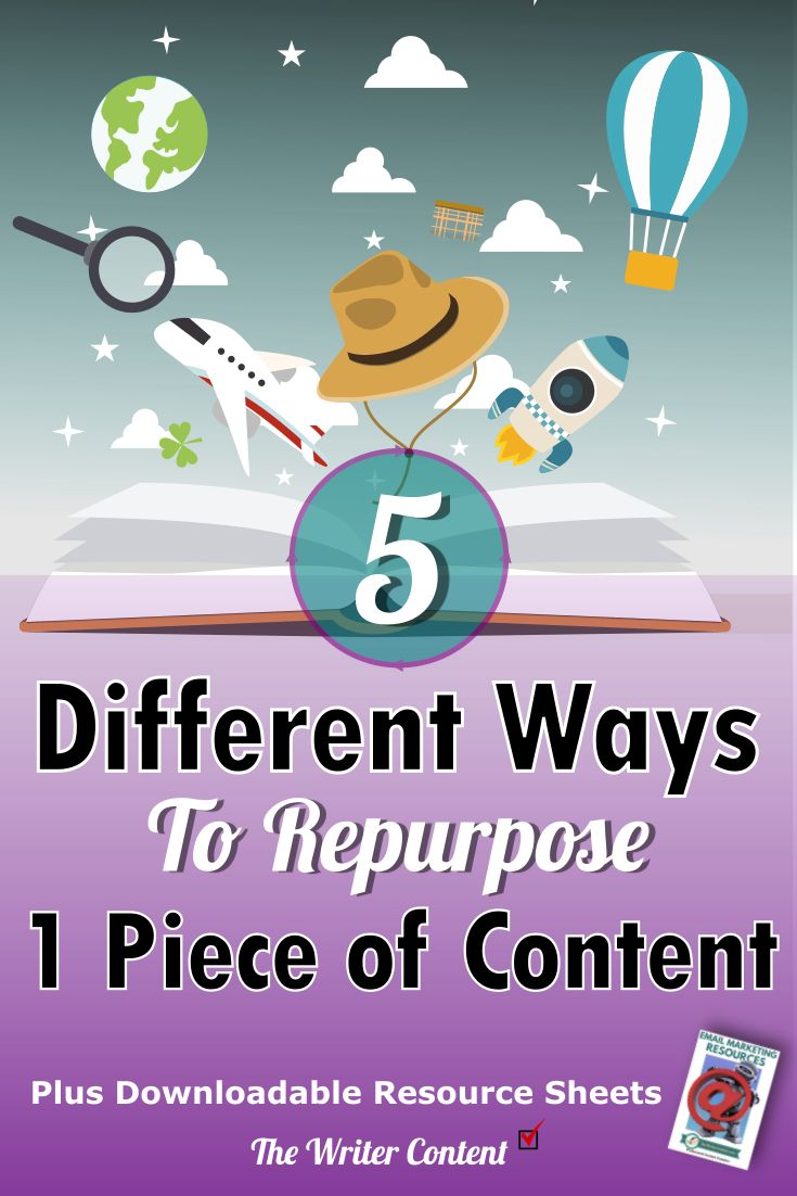 Stop reinventing the wheel. You can reuse your content by re-purposing it into a different format over and over again.