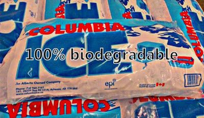 We are the only ice company in Alberta to use biodegradable ice bags.  Arctic Glacier does not.  #yegice #ernieiceman #iceedmonton #columbiaice #biodegradable