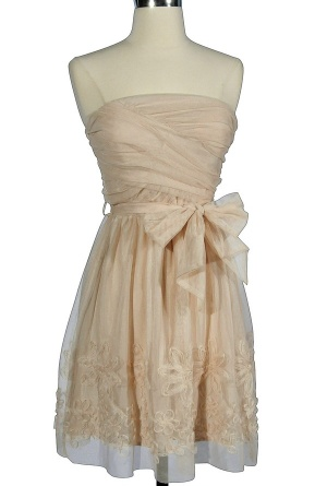 Tulle Flower Trim Strapless Dress in Cream, how would this go with