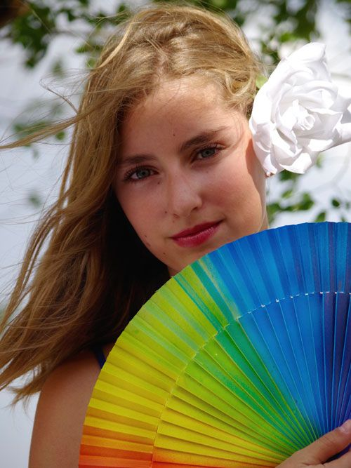 Spanish hand fan rainbow design! Beautiful colours from Andalucia.