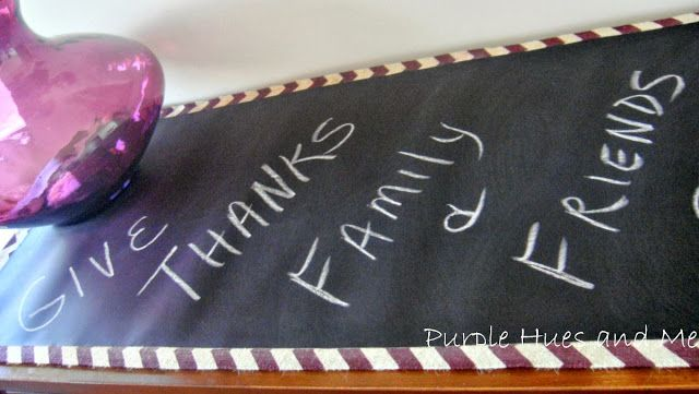 Purple Hues and Me: No Sew Chalkboard Fabric Table Runner pinned from Rock N Share #62