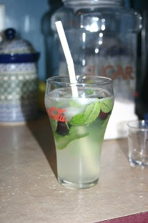 Black Cherry mojito - Buffalo Wild Wings copycat. A DELICIOUS cocktail and relatively easy/cheap to make.  Mojito mix + cherry rum + sprite or club soda. I use Bacardi Torched Cherry rum. I also made the mojito mix listed, just sugar, mint leaves, water and lime juice! YUM!