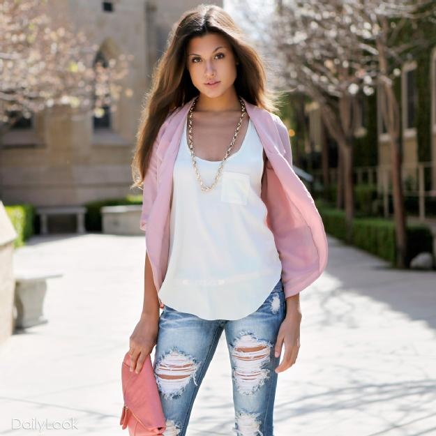 Blue Jean baby :)Ripped Jeans, Blushes Pink, Blue Jeans, Pale Pink, Jeans Baby, Cute Outfit, Casual Looks, My Style, Pink Blazers