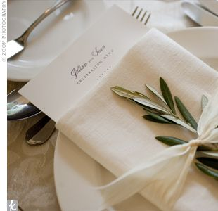 another napkin idea... maybe with a bit of holly instead of the greenery?  and a program for the evening instead of the menu?