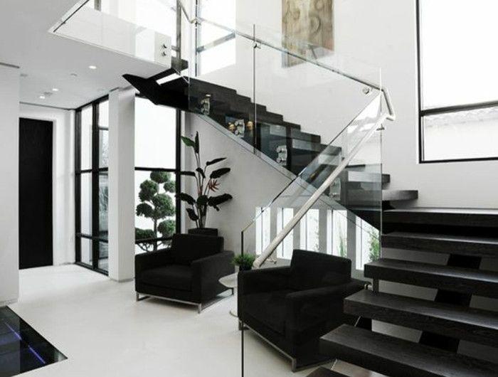 Die besten 25+ schwarze Treppe Ideen auf Pinterest Treppe - wohnzimmer design schwarz weis
