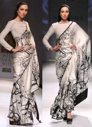 White Sequin Work Raw Silk Pure Silk Printed Designer Sarees http://www.angelnx.com/