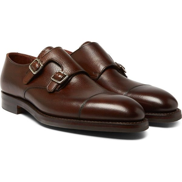 George Cleverley Thomas Pebble-Grain Leather Monk-Strap Shoes ($700) ❤ liked on Polyvore featuring men's fashion, men's shoes, men's dress shoes, mens wide fit shoes, mens wide shoes, mens double monk strap shoes, mens wide width dress shoes and mens wide dress shoes