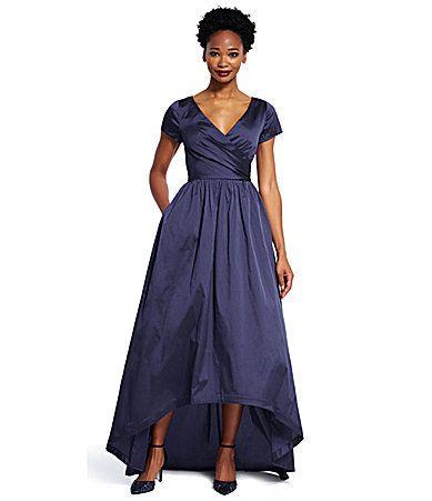e3c8a9dfb2e Adrianna Papell Petite HiLow Taffeta Short Sleeve Ball Gown  Dillards