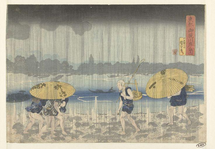 Utagawa Kuniyoshi   De Onmaya rivieroever in de  Oostelijke hoofdstad, Utagawa Kuniyoshi, Yamaguchiya Tobei, 1832 - 1836   De oever van de rivier de Sumida tijdens een regenbui; op de voorgrond links drie mannen onder één paraplu, rechts een paraplu verkoper en een man met een houten bak over zijn schouder.