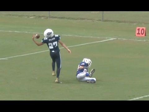 Incredible behind-the-back juggling touchdown catch - youth football highlights - YouTube