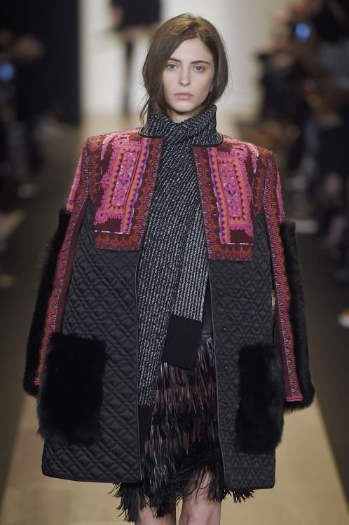 Global folkloric influences dominate print & pattern on the @BCBGMAXAZRIA #NYFW #AW15 #catwalk