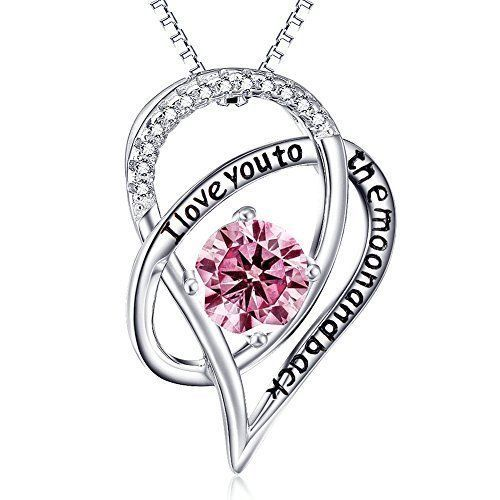 Mothers Day Gifts Gift For Mom Necklace Pendant Sterling Silver Heart Pink NEW #Kbrand