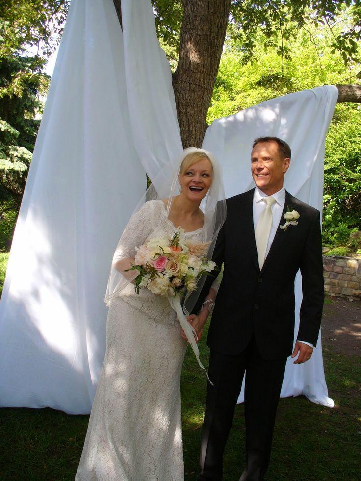 ~ Wind Lost ~ Our elegant garden wedding June 21, 2014. Ivory vintage wedding dress. Groom in black Hugo Boss suit and ivory tie. Romantic bouquet of garden roses, peonies, astilbe, sweet peas, Sahara roses, jasmine vine