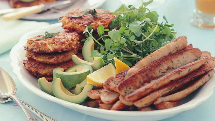 Sweet potato hash browns with chicken sausages recipe - 9kitchen