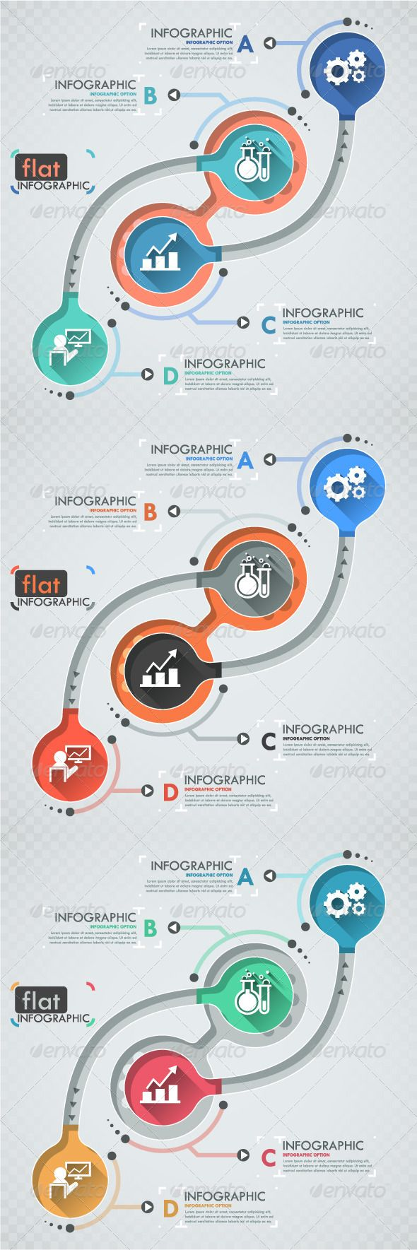 Flat Infographic Template (Three Versions) #design Download: http://graphicriver.net/item/flat-infographic-template-three-versions/8232917?ref=ksioks