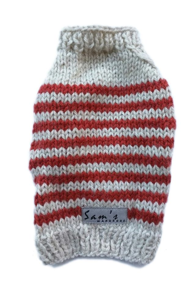 Beat the cold with this Paprika Striped Puppy Sweater. It is hand-knitted from 4-ply worsted-weight yearn with combination of 20% wool and 80% acrylic so it is soft and warm but easy to maintain. The