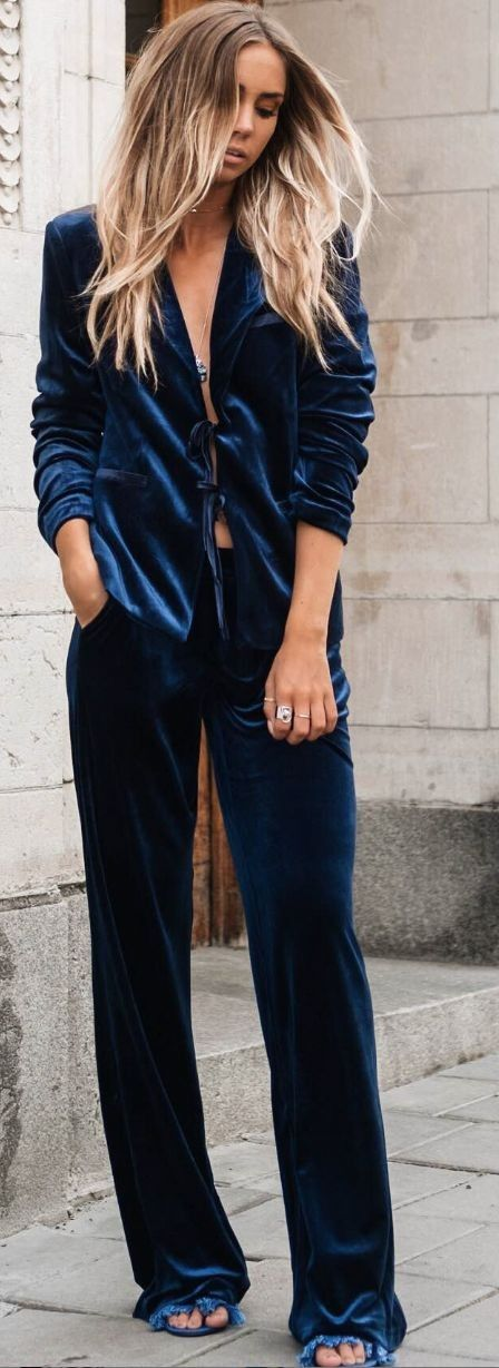 #summer #trending #outfitideas | Blue Velvet Suit                                                                                                                                                                                 More