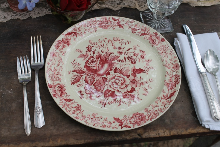 "Taylor Smith Taylor Red Floral 10"" dinner plate - 1 available- Southern Vintage Classic China Collection Rentals"