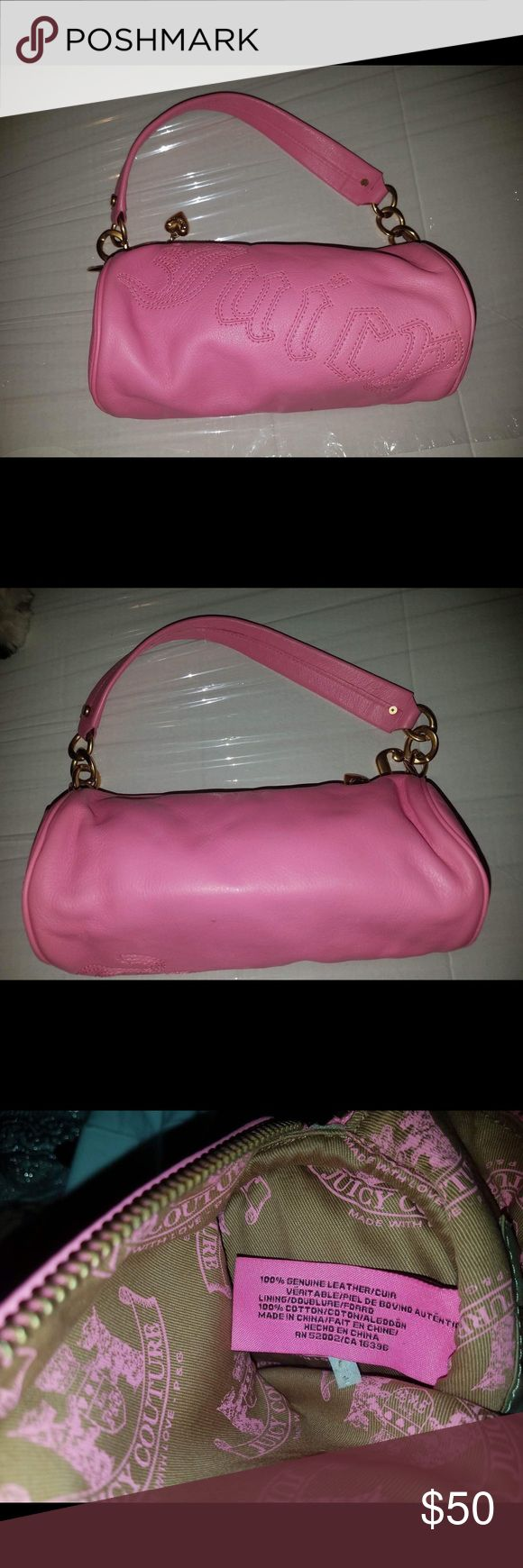 Juicy Couture small pink leather barrel handbag 💯 leather barrel handbag only used once. Spotless interior with shiny hardware! Beautiful small bag. Juicy Couture Bags