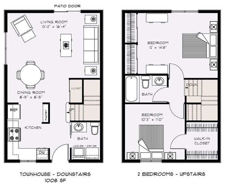 68 best townhouse duplex plans images on pinterest for 2 bedroom townhouse plans
