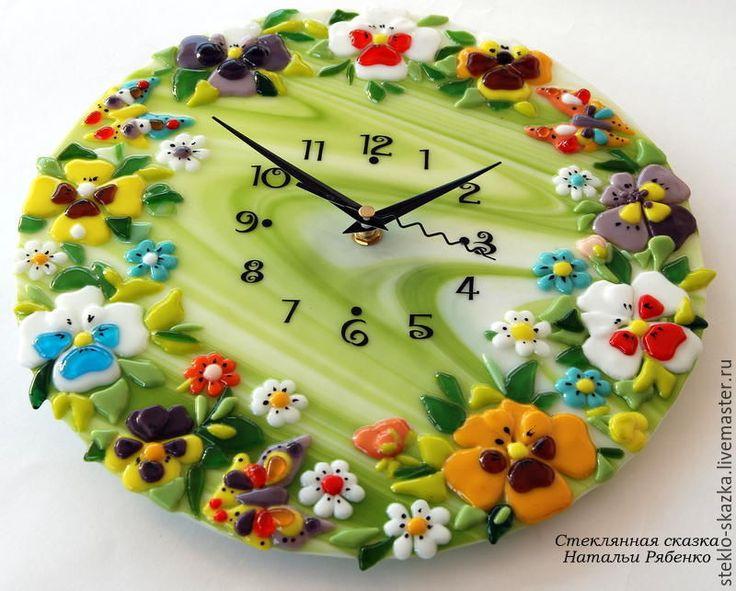 Купить Часы настенные Анюткины глазки - комбинированный, наталья рябенко, анютины глазки, цветы, лето
