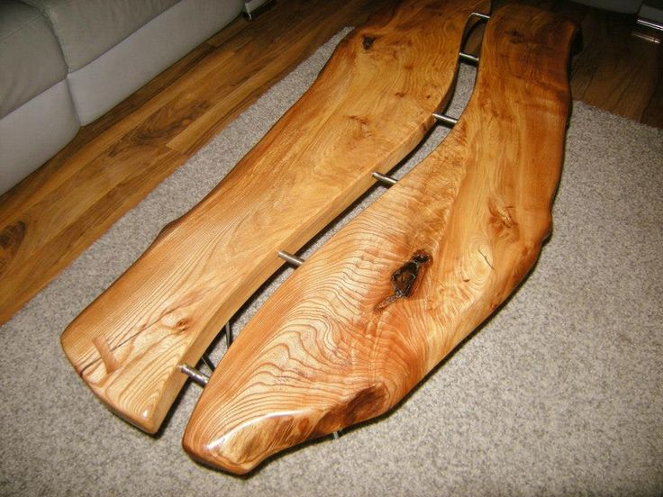 Thick cut Elm coffee table by Green Tree Furniture. Glasgow.