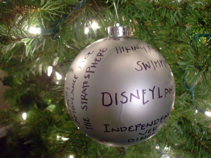 Buy a dollar store ornament and write down the great memories from the past year! Do one every year and collect!!