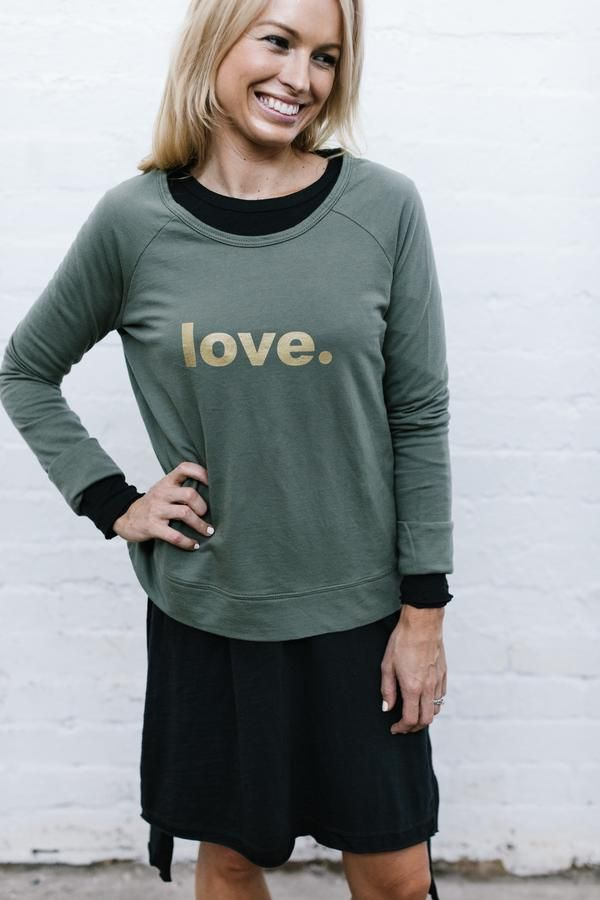Love Khaki Sweater from Blossom and Glow blossomandglow.com.au