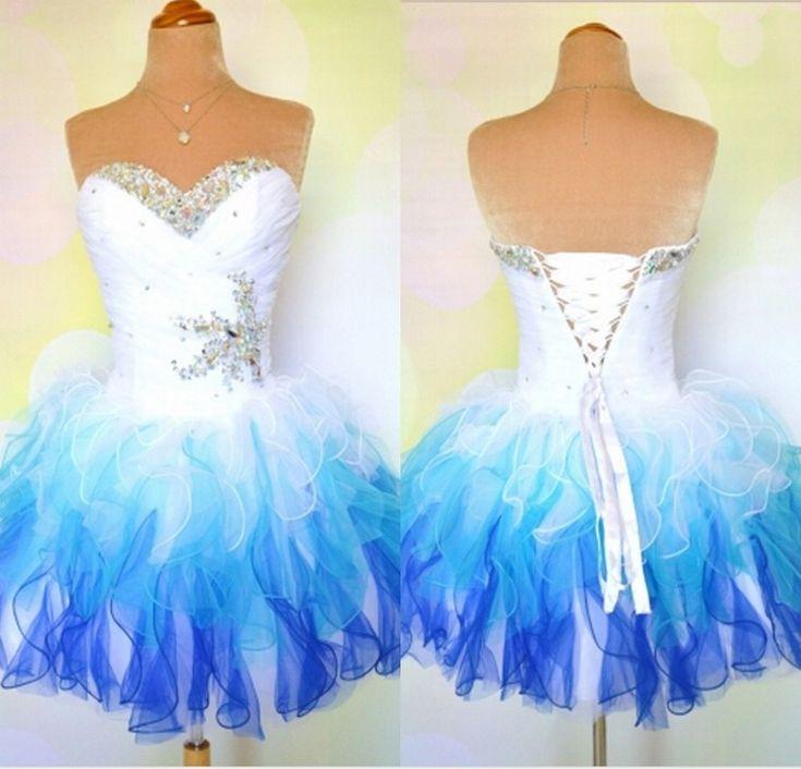 Short Prom Dresses,Tulle Prom Dresses,Rainbow Dress Strapless A