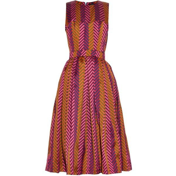 House Of Holland Chevron-jacquard sleeveless dress (9.671.195 IDR) ❤ liked on Polyvore featuring dresses, vestido, pink multi, sweetheart dress, pink sweetheart dress, pink fit and flare dress, sweetheart neck dress and fit and flare dress